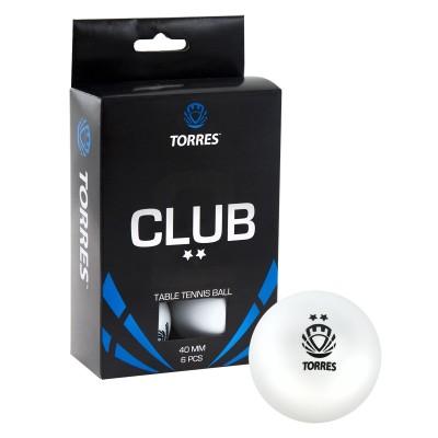 Мяч для настольного тенниса TORRES Club 2*, арт.TT0014 (упак. 6 шт.)