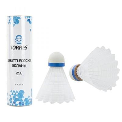 Воланы для бадминтона Torres 250 (нейлон/пробка), уп.6шт., арт.BD20109