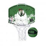 Набор для мини-баскетбола Wilson NBA Team Mini Hoop Boston, арт. WTBA1302BOS (щит с кольцом, мяч №1)